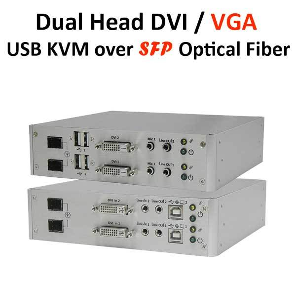 KVM Удлинитель Prowall Dual Head DVI/VGA USB KVM Extender over SFP Optical Fiber